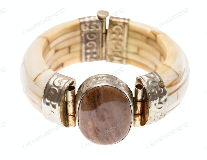 travertine stone insert in camel bone bracelet