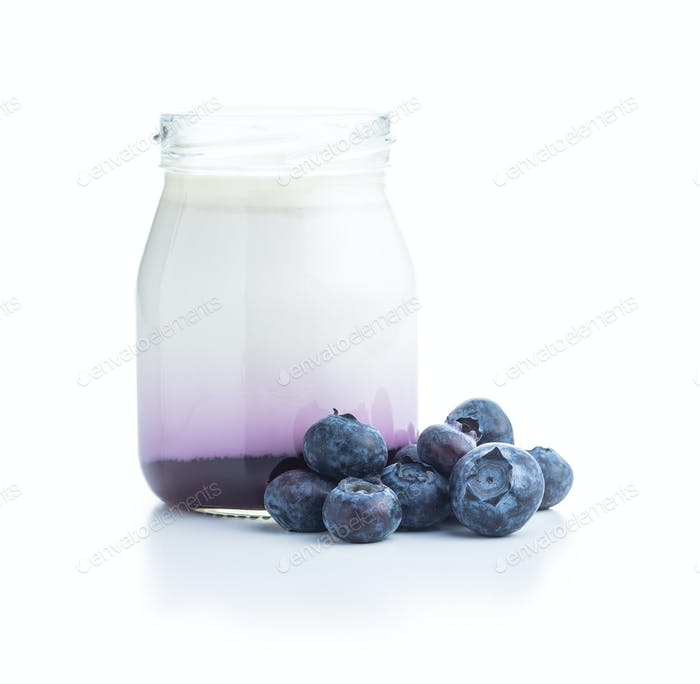 White fruity yogurt in jar and blueberries