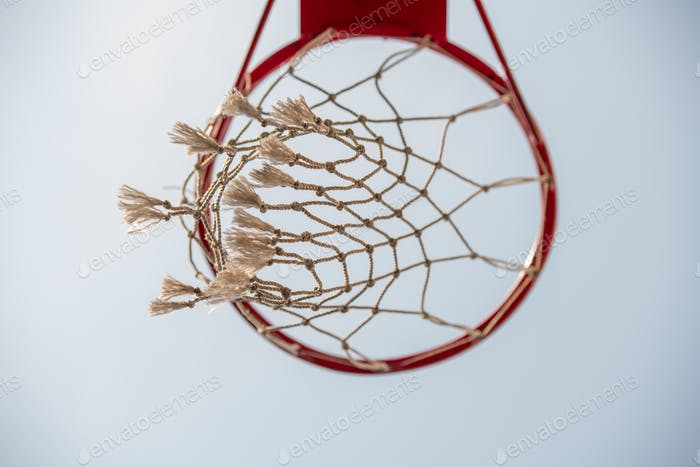 Below view of basket for playing basketball