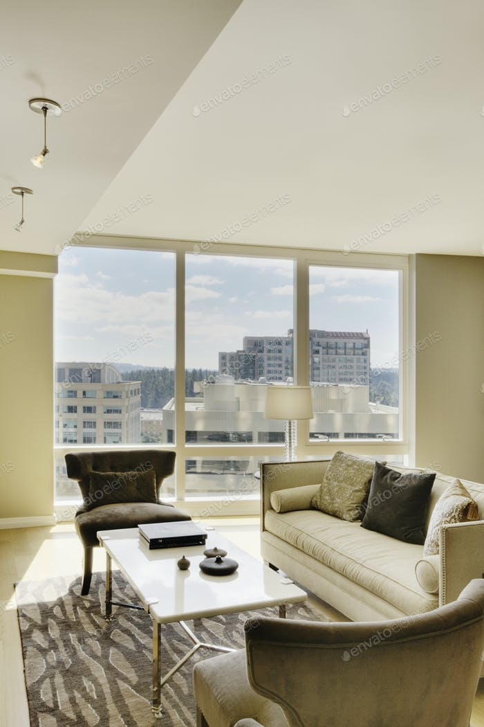 Living room in luxury highrise apartment