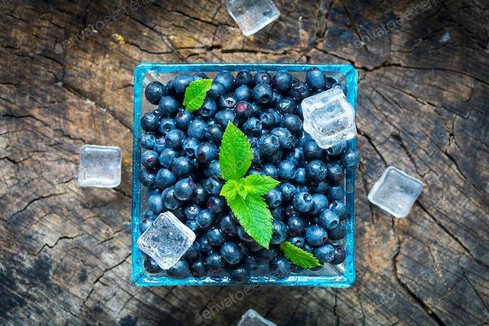Bowl of  fresh picked blueberries