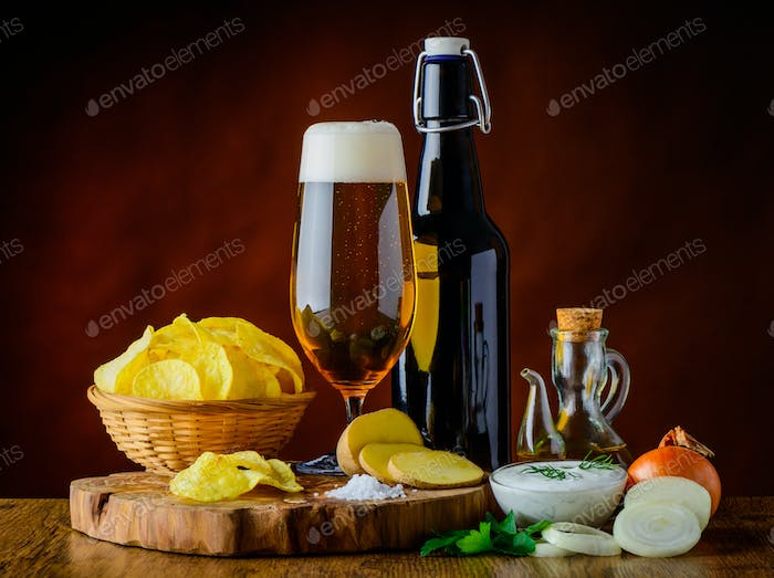 Beer and Potato Chips with Dip