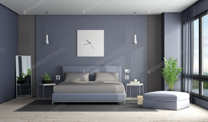 Gray and purple master bedroom