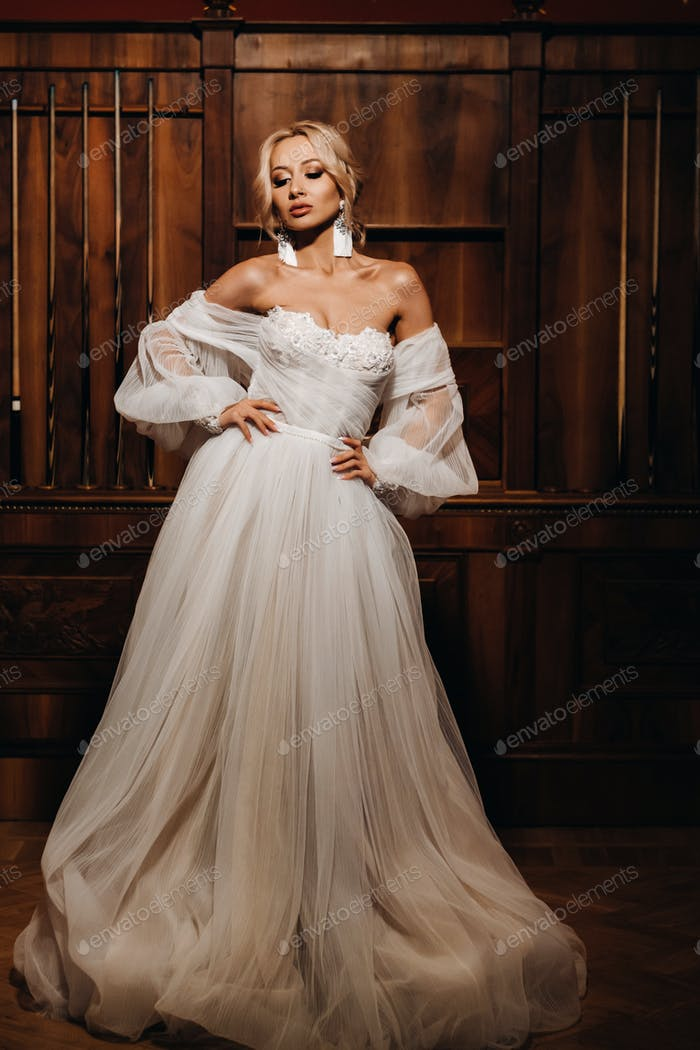 Portrait of beautiful bride in the hall