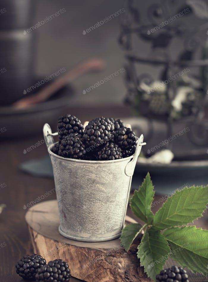Small bucket of blackberry toned