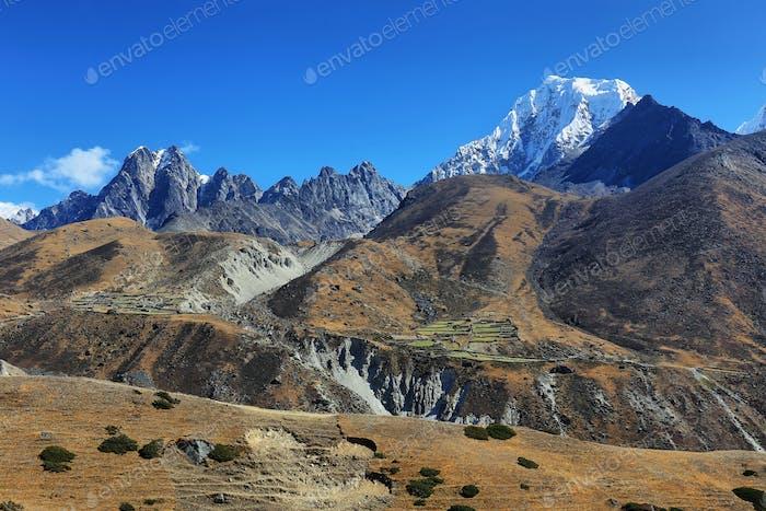 View of peak range near Macchermo, Nepal