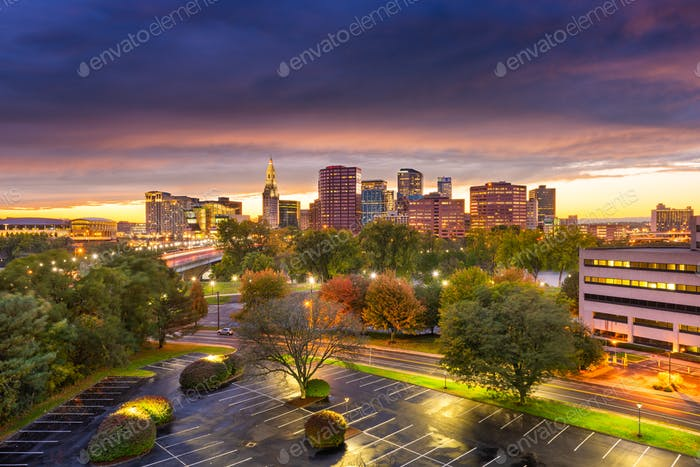 Hartford, Connecticut, USA Downtown Cityscape