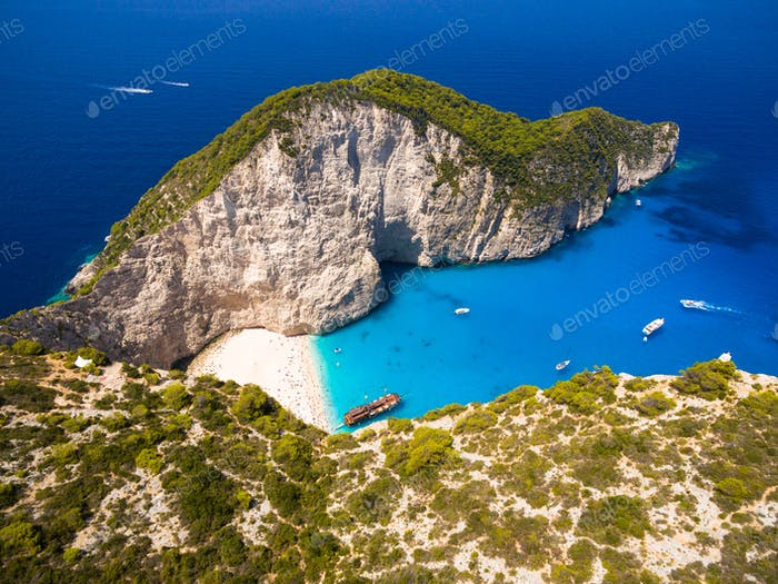 Aerial  view of Navagio beach Shipwreck view in Zakynthos (Zante