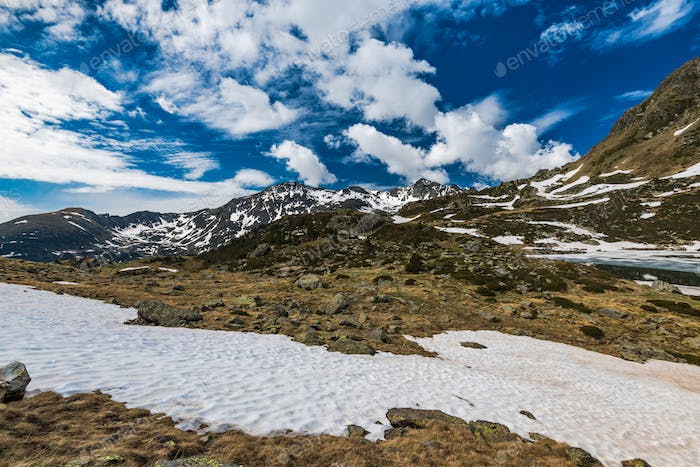 Snow patches in Pyrenees at spring time