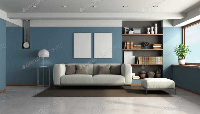 Blue living room with modern furniture