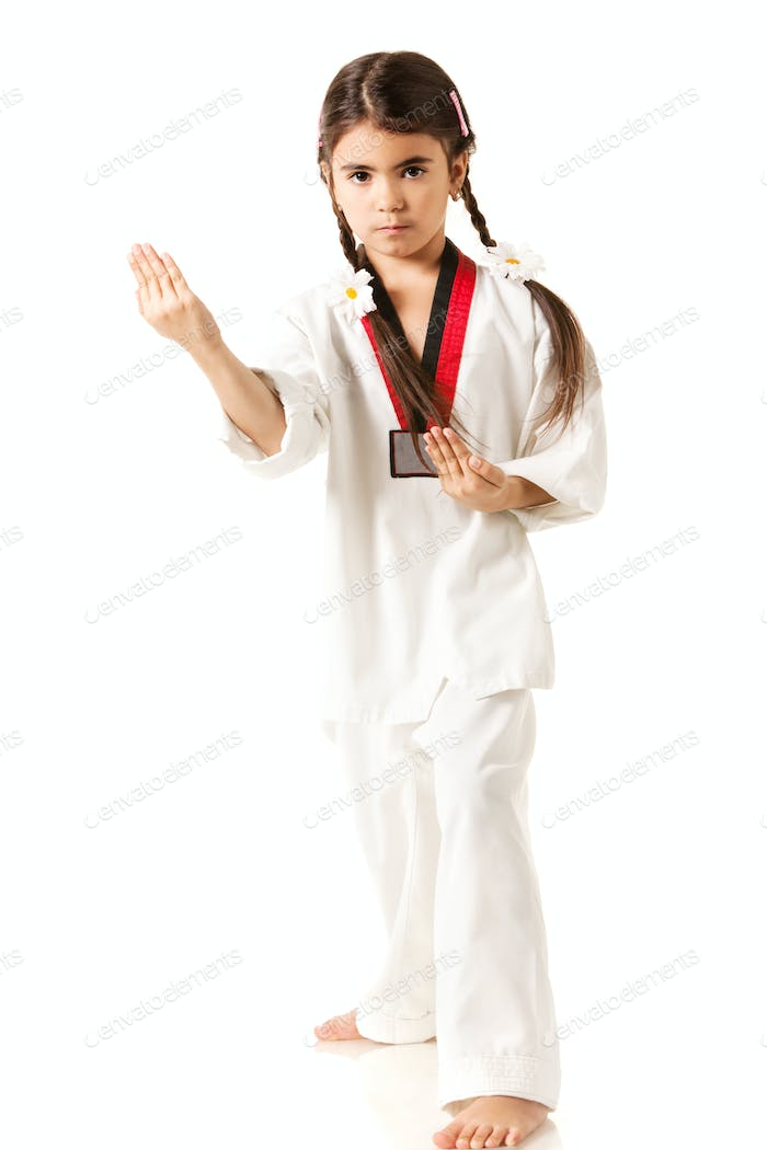 Girl in white kimono makes punch