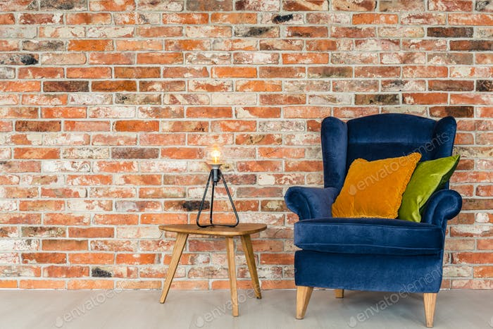 Armchair and colorful pillows