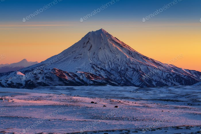 Stunning Winter Mountain Landscape of Kamchatka Peninsula at Sunrise