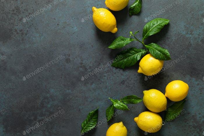 Frische Zitronen mit Blättern, Sommerzitrus-Limonade Zutat