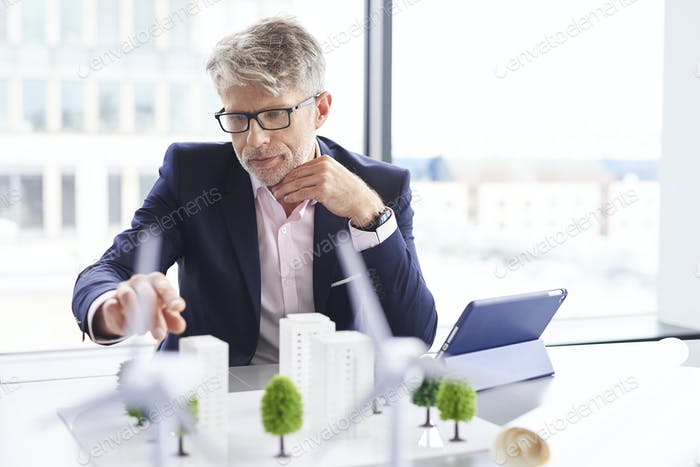 Focused man thinking about new project