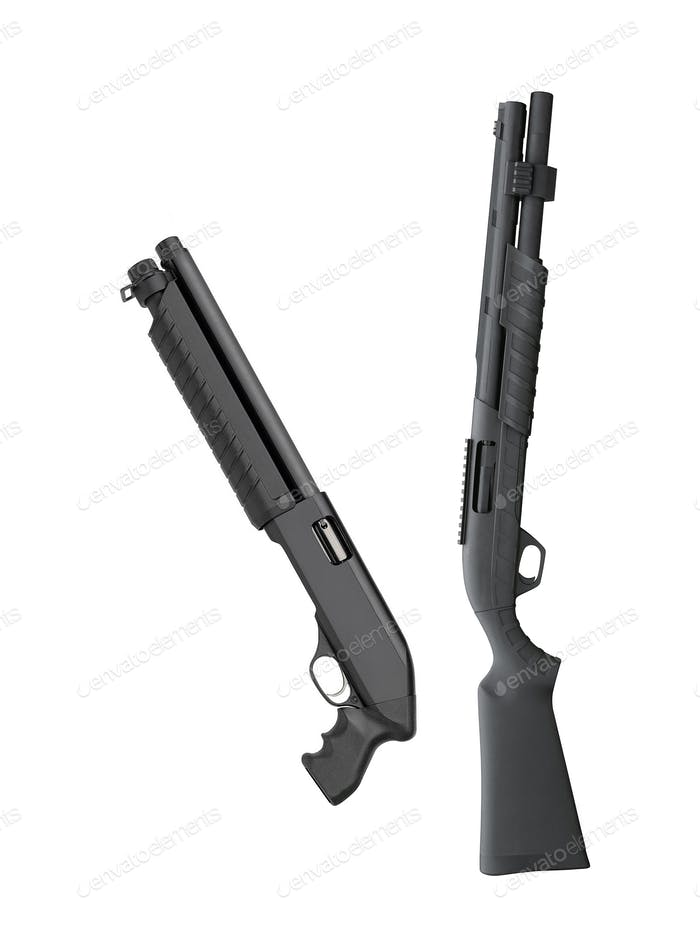 Black shotguns isolated