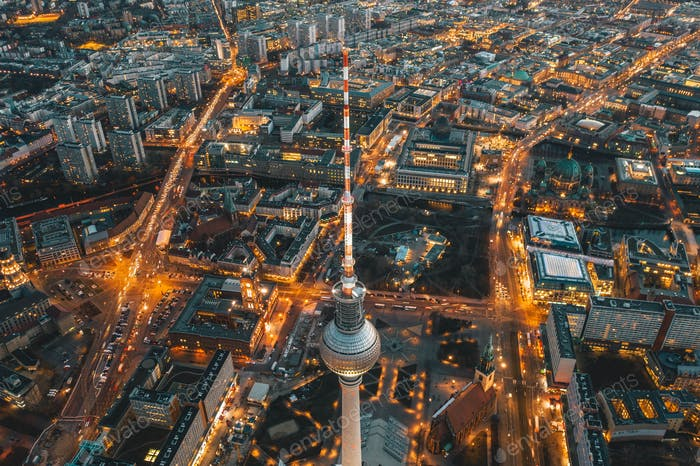 Wide View of Beautiful Berlin, Germany Cityscape of Alexanderplatz TV Tower