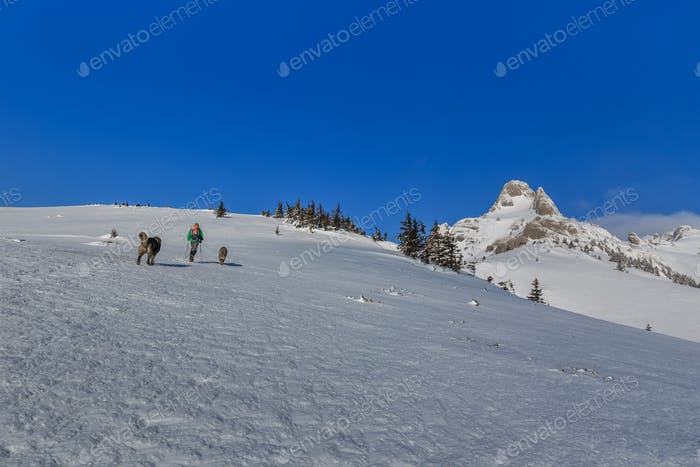 climbing on mountain in winter