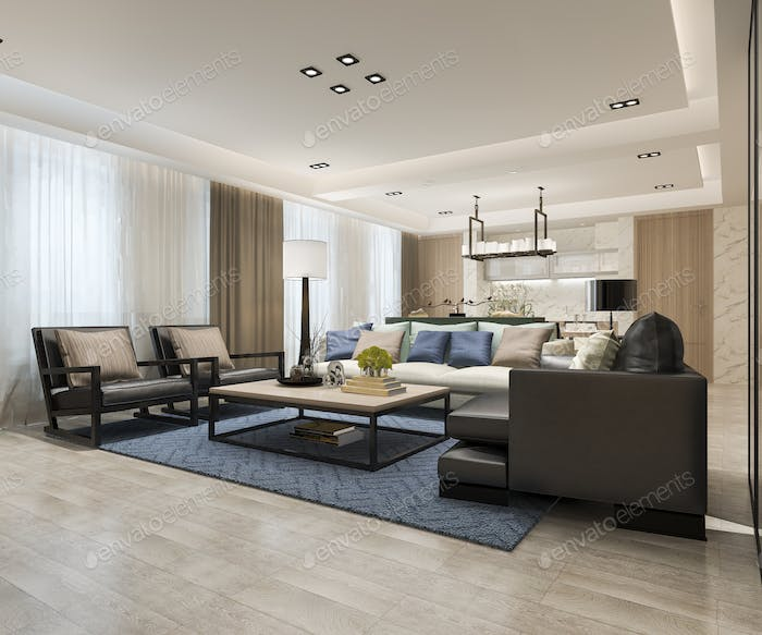 3d rendering modern dining room and living room near kitchen with luxury decor