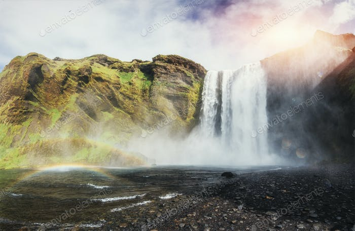Great waterfall Skogafoss in south of Iceland near