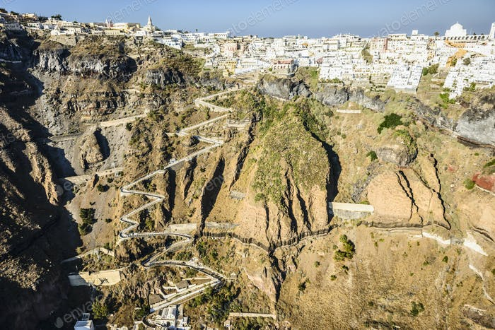 54353,Aerial view of city built on rocky hilltop, Oia, Egeo, Greece