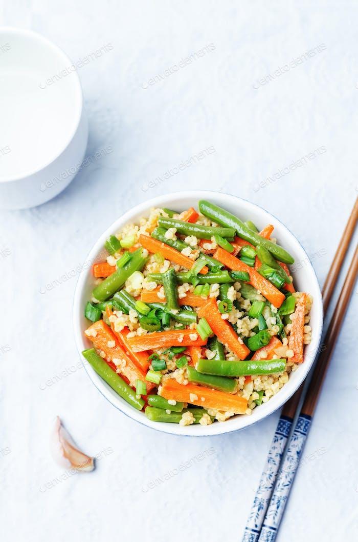 Millet carrots green beans Stir-Fry