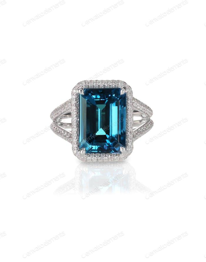 aquamarine center stone engagement wedding bridal blue ring with diamond halo