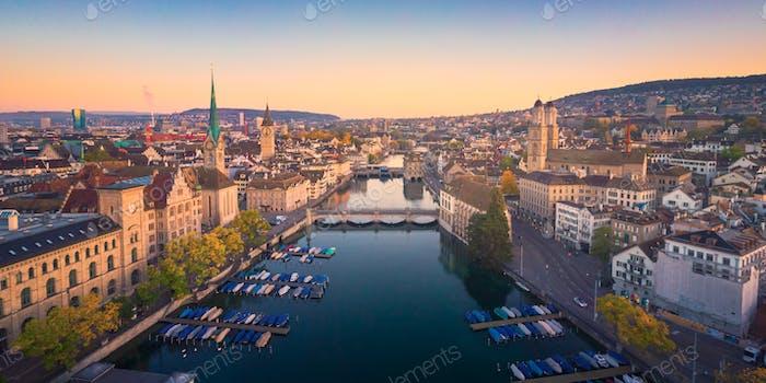 Aerial cityscape view of Zurich in autumn, Switzerland