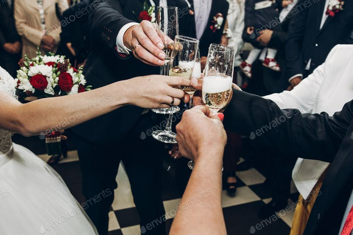 people toasting with champagne glasses at wedding reception