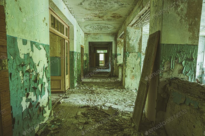 Belarus. Abandoned School In Chernobyl Zone. Chornobyl Catastrophe Disasters. Dilapidated House In