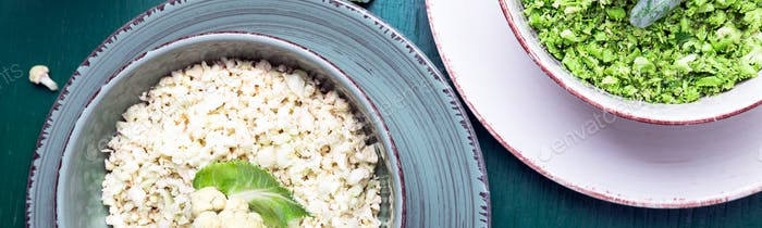 Banner of Cauliflower rice and broccoli rice in bowl on green background. Top view.