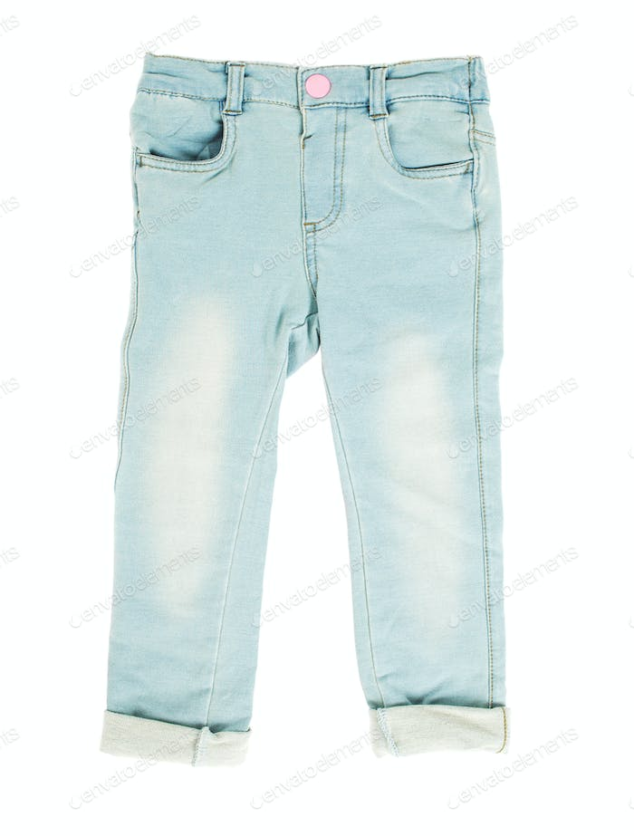 Children blue jeans.