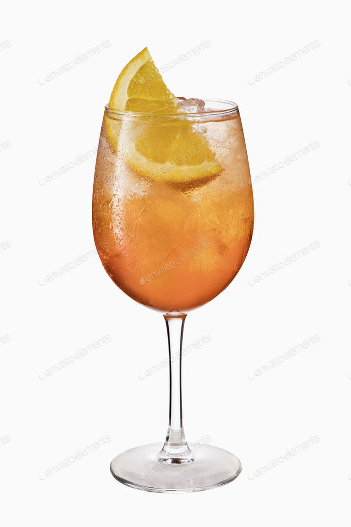 Alcoholic Aperol Spritz Cocktail Isolated on White