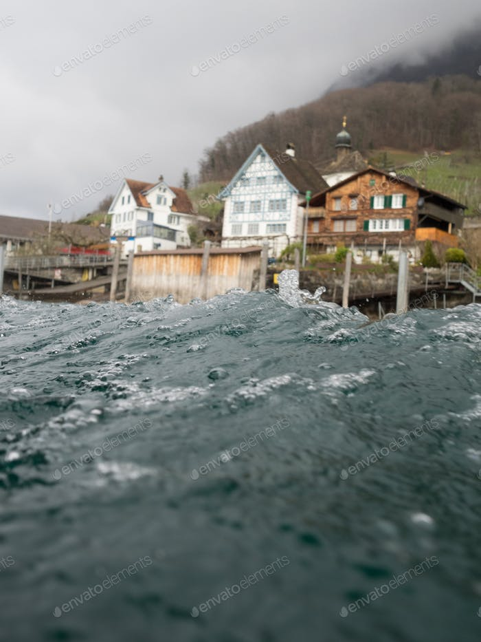 Swiss village with a shot taken from a boat.