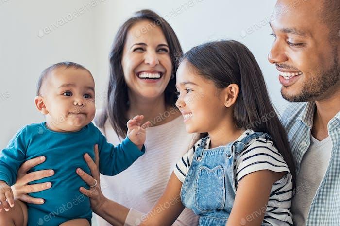 Family having fun with children