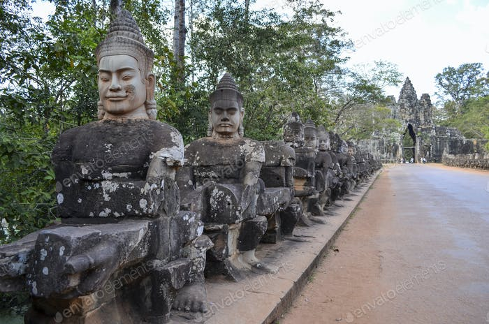 Ankor Wat, a 12th century historic Khmer temple and UNESCO world heritage site. Busts and statues of