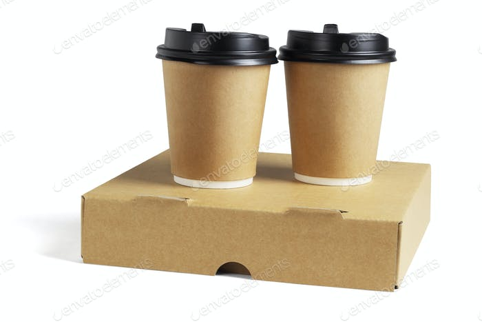 Coffee Cups on Pizza Box