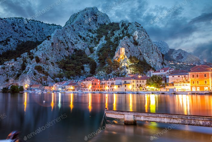 Old coastal town Omis in Croatia at night