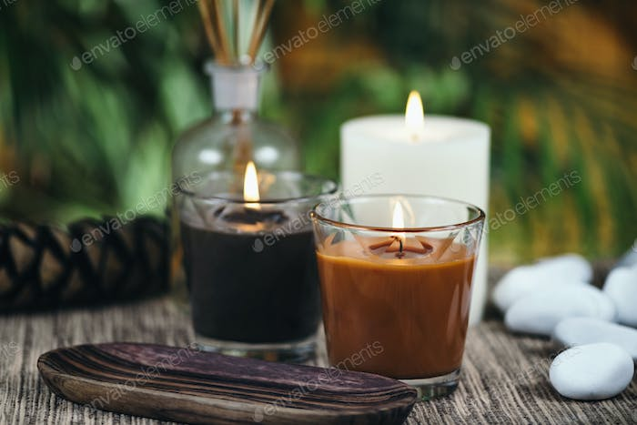 Aromatic Candles. Chocolate Brown and Caramel Scented Candles