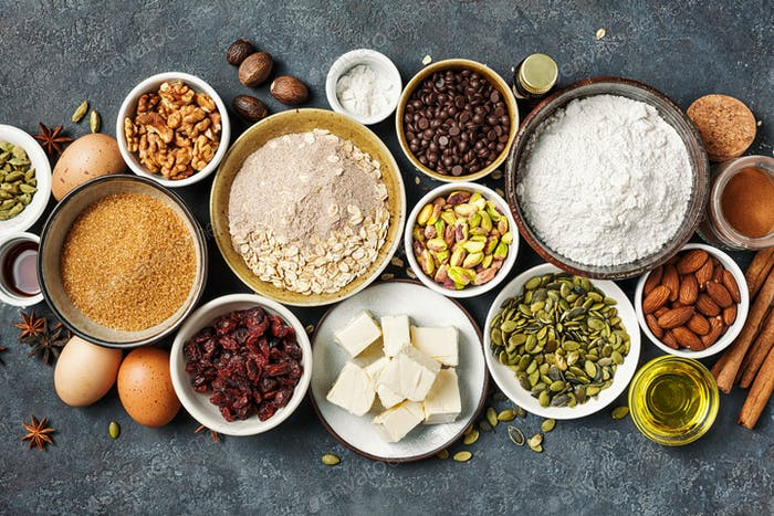 Different ingredients for baking