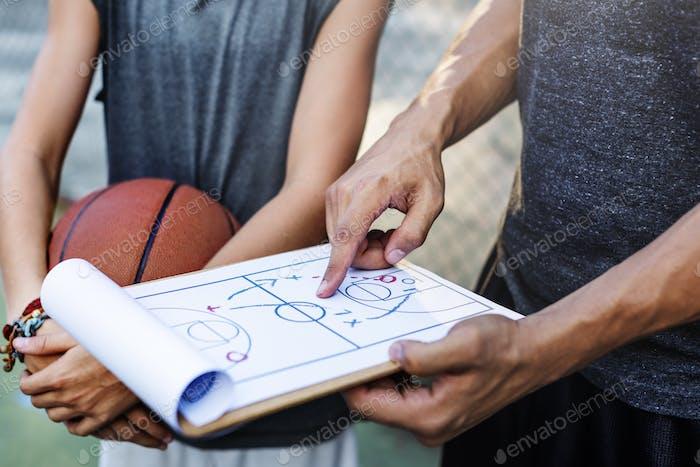 Basketballspieler Sport Spielplan Taktik Konzept