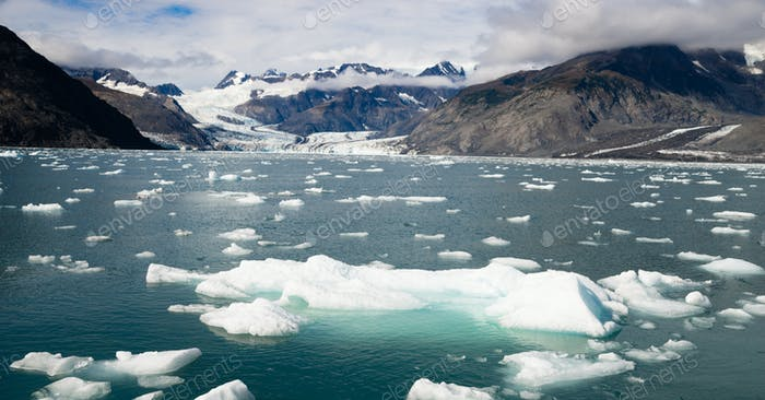 Ice Chunks Dwarfed by Mountains Aialik Glacier Alaska Kenia Fjords