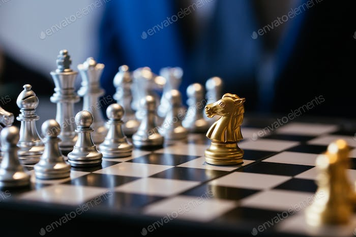 One chess piece against many on chessboard