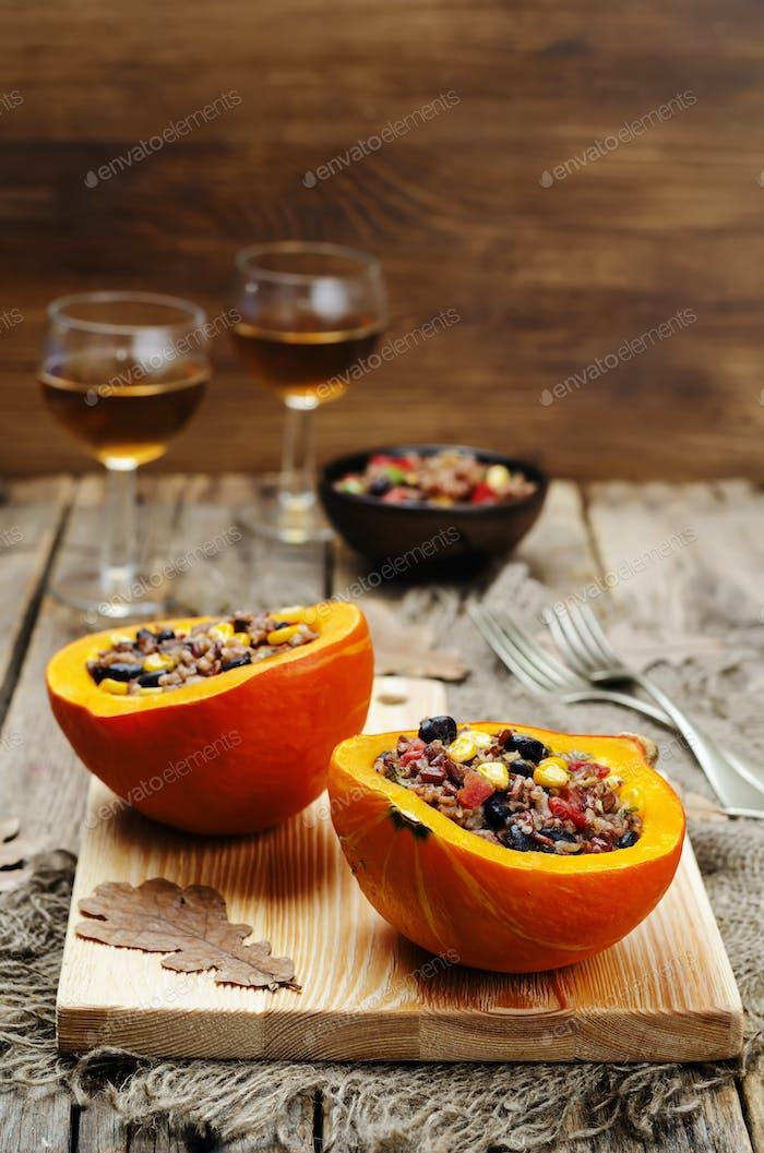 black beans corn white and red rice stuffed pumpkin