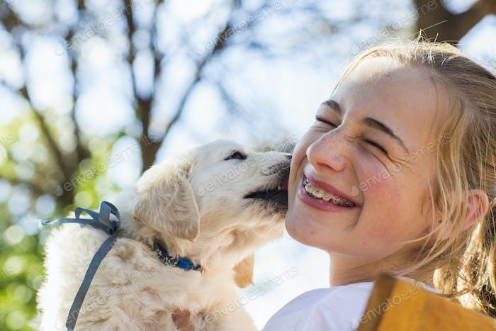 A English golden retriever puppy licking the cheek of a teenage girl.