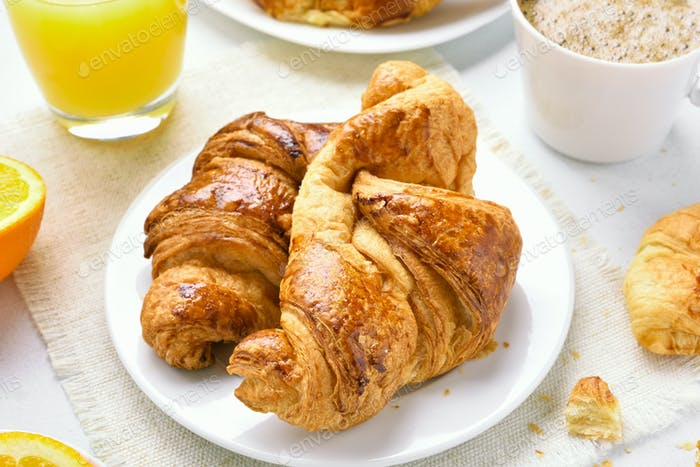 Tasty hot croissants