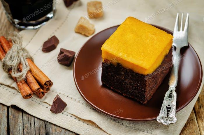 Pumpkin chocolate cake Brownie with glass of coffee