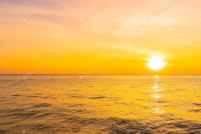 Beautiful landscape of sea beach ocean at sunset or sunrise time