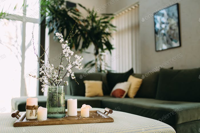 Comfort at home. Relaxing time with candles.