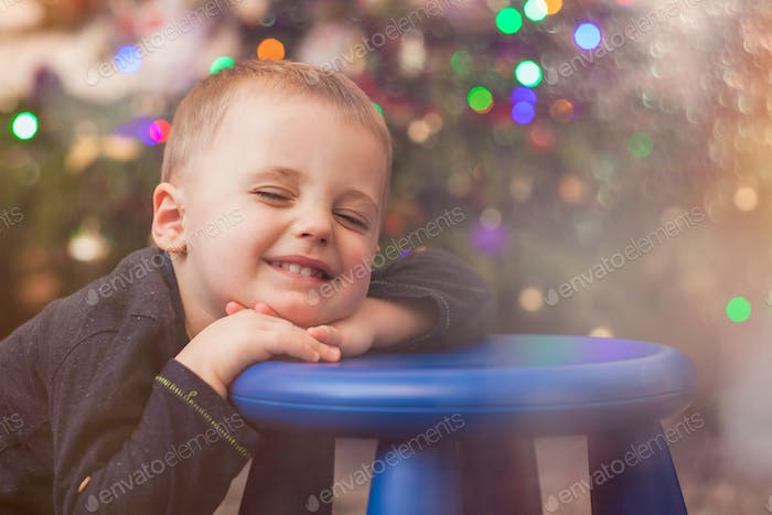 Happy cute boy portrait at Christmas